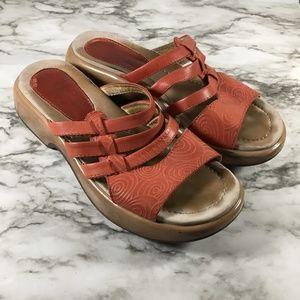 Dansko Red Leather Strappy Open Toe Sandals